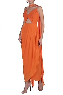 Orange Overlap Anarkali Gown with Braided Dupatta by Shloka Khialani