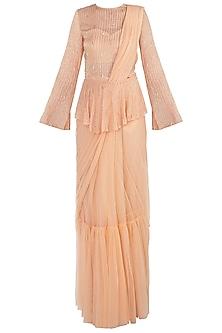 Peach Net Ruffled Saree Set by Shloka Khialani
