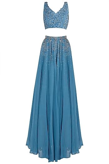 Blue Embellished Lehenga Set by Shloka Khialani