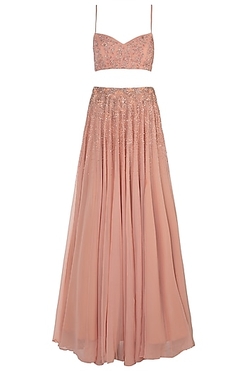 Peach Embellished Lehenga Set by Shloka Khialani