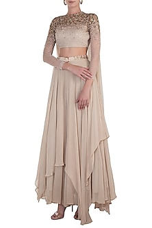 Beige Embellished Blouse with Lehenga Skirt and Belt by Shloka Khialani
