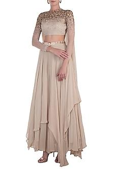 Beige Embellished Blouse with Lehenga Skirt and Belt by Shloka Khialani