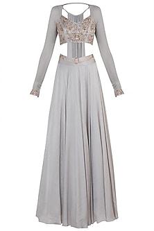 Grey Embellished Blouse with Lehenga and Belt by Shloka Khialani