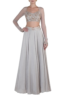 Grey Embellished Blouse with Lehenga and Belt by Shloka Khialani