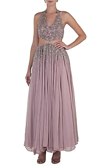 Lilac Cut Out Embellished Gown by Shloka Khialani