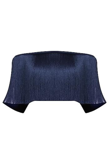 Navy Blue Off Shoulder Fringe Top by 431-88 By Shweta Kapur