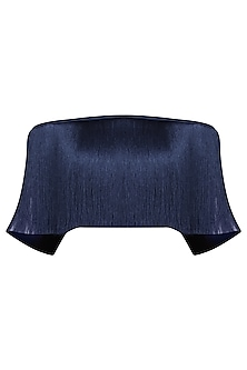 Navy Blue Off Shoulder Fringe Top by 431-88 By Shweta Kapur