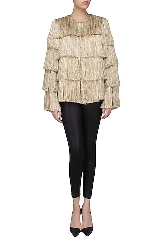 Gold Layered Fringe Jacket by 431-88 By Shweta Kapur