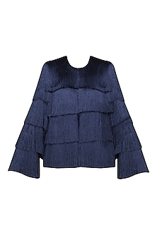 Navy Blue Layered Fringe Jacket by 431-88 By Shweta Kapur
