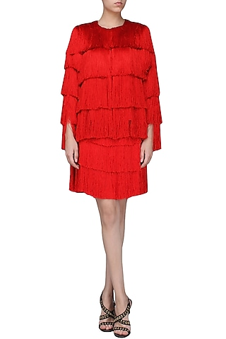 Red Layered Fringe Jacket by 431-88 By Shweta Kapur