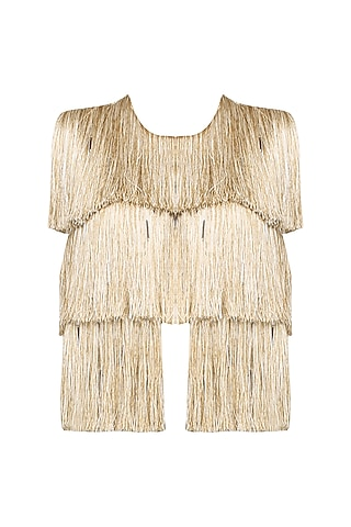 Gold Layered Fringe Sleeveless Jacket by 431-88 By Shweta Kapur