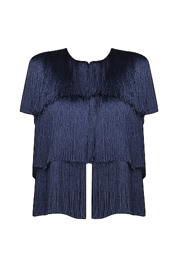 Navy Blue Layered Fringe Sleeveless Jacket by 431-88 By Shweta Kapur