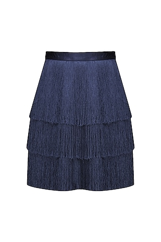 Navy Blue Layered Fringe Skirt by 431-88 By Shweta Kapur