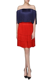 Red Layered Fringe Skirt by 431-88 By Shweta Kapur