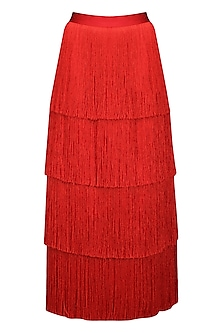 Red Layered Fringe Long Skirt by 431-88 By Shweta Kapur