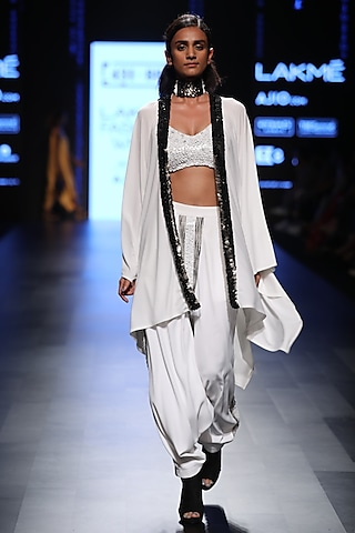White Panelled Harem Pants by 431-88 By Shweta Kapur