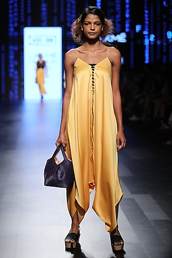 Yellow Harem Jumpsuit by 431-88 By Shweta Kapur