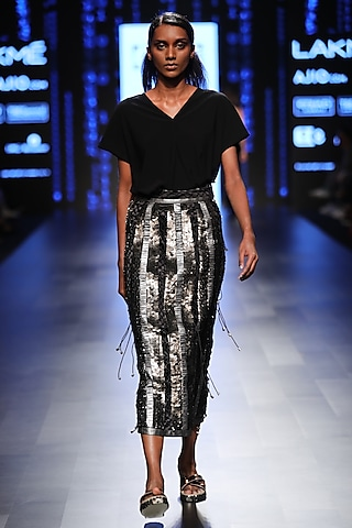 Silver Panelled Straight Skirt by 431-88 By Shweta Kapur