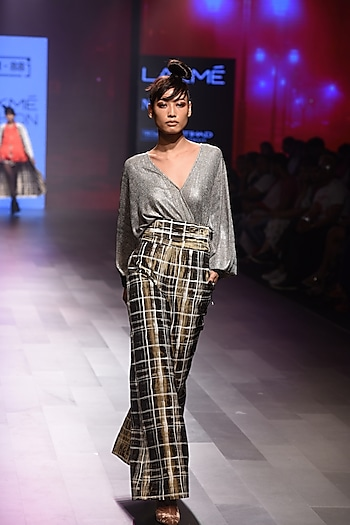 Dusty Gold Fringed Loose Top by 431-88 By Shweta Kapur