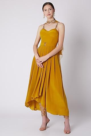 Mustard Yellow Embroidered Corset Kurta Set by SHLOKA KHIALANI