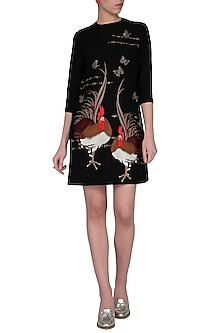 Black embroidered mini dress by Shahin Mannan