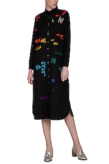 Black embroidered midi shirt dress by Shahin Mannan