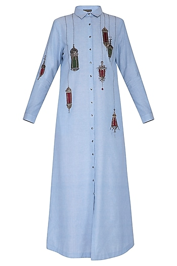 Light blue embroidered maxi shirt dress by Shahin Mannan