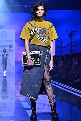 Grey Embroidered & Printed Skirt by Shahin Mannan