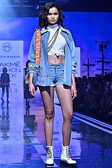Powder Blue Oversized Embroidered Jacket by Shahin Mannan