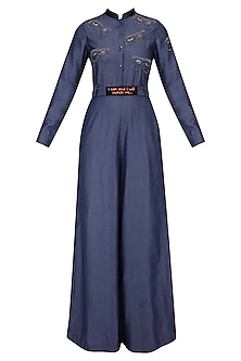 Blue Embroidered Specky Eyes Motifs Jumpsuit by Shahin Mannan
