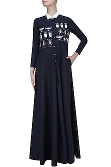 Navy Blue Embroidered Insect Motifs Long Flared Dress by Shahin Mannan