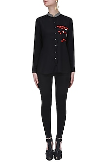 Black and Red Hearts Embroidered Asymmetric Shirt by Shahin Mannan