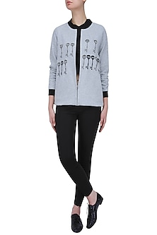 Grey Embroidered Skeleton Key Motifs Bomber Jacket by Shahin Mannan