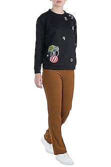 Black embroidered sweatshirt by SHAHIN MANNAN