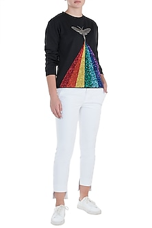 Black embroidered rainbow sweatshirt by SHAHIN MANNAN