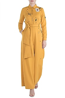 Yellow embroidered jumpsuit by SHAHIN MANNAN
