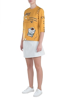 Yellow embroidered top by SHAHIN MANNAN