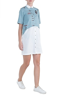 Light blue embroidered pen pencil shirt with shift dress by SHAHIN MANNAN