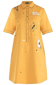 Yellow embroidered shirt dress by SHAHIN MANNAN