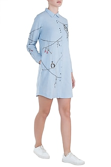 Light blue embroidered pocket shirt dress by SHAHIN MANNAN