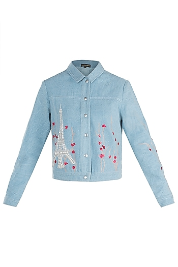 Light blue embroidered denim jacket by SHAHIN MANNAN