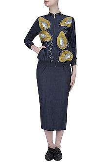 Ink Blue Papaya Motifs Denim Bomber Jacket and Pencil Skirt Set by Shahin Mannan