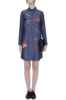 Blue Butterfly, Kitkat, Quote and Hearts Embroidered Denim Shirt Dress by Shahin Mannan