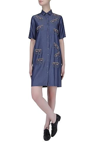 Blue Beads Embroidered Specky Eyes Motif Denim Shirt Dress by Shahin Mannan