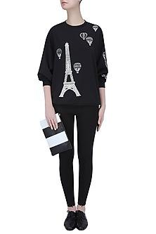 Black Eiffel Tower and Air Balloon Motif Sweatshirt by Shahin Mannan