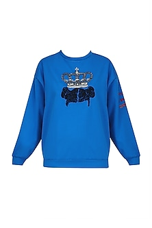 Electric Blue Crown and Funky Hair Motif Sweatshirt by Shahin Mannan