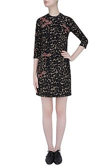 Beige and Brown Animal Print and Butterfly Motif Bodycon Dress by Shahin Mannan