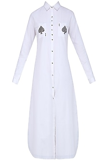 White Playing Card Motifs Shirt Dress by Shahin Mannan
