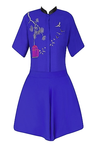 Electric Blue Bird and Cage Motifs Shirt and Skirt Set by Shahin Mannan