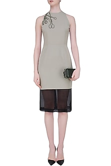 Grey and Black Embroidered Scissors Motifs Dress by Shahin Mannan